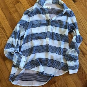 Hollister button sheer top womens size M